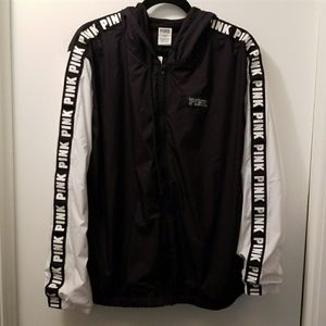 VS PINK BLACK LOGO HOODED ANORAK JACKET M/L NWTS